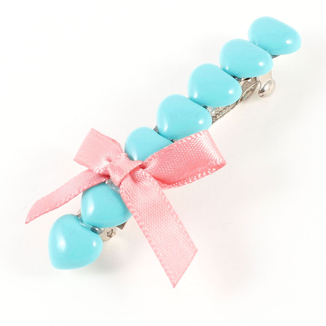 Lady Girl Aqua Heart Beads Pink Bowtie Ponytail Holder French Clip Hairclip
