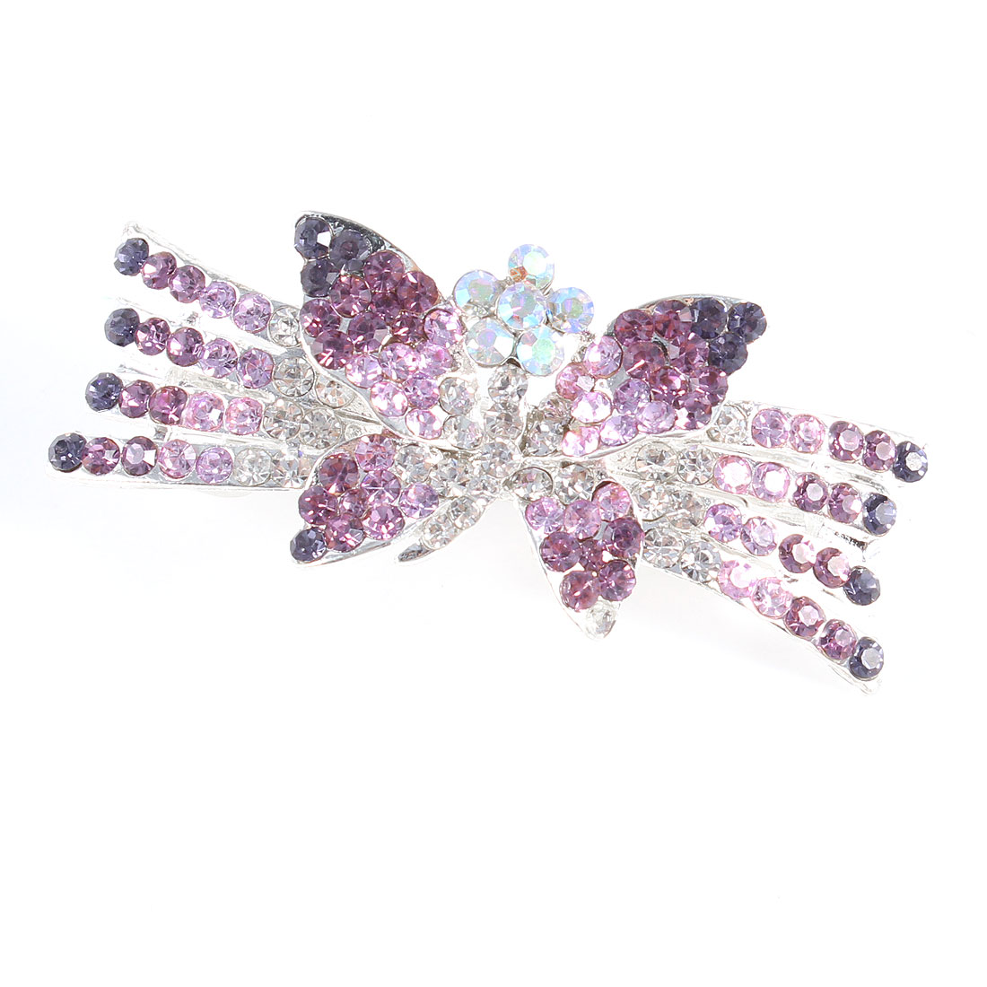 Lady Purple Clear Rhinestone Butterfly French Clip Hair Barrette Hairclip