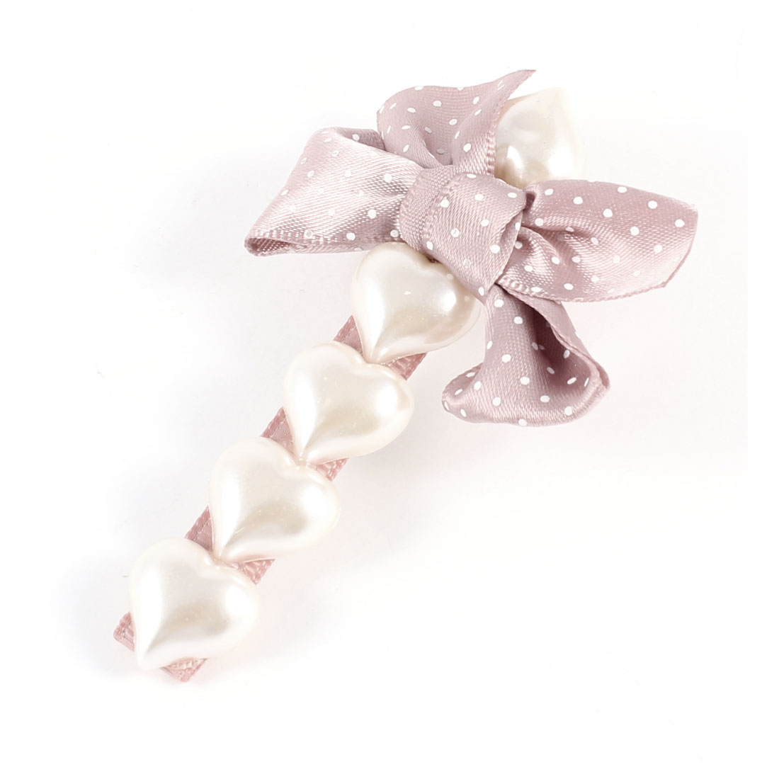 White Heart Beads Light Pink Bowknot Alligator Clip Hairclip for Woman