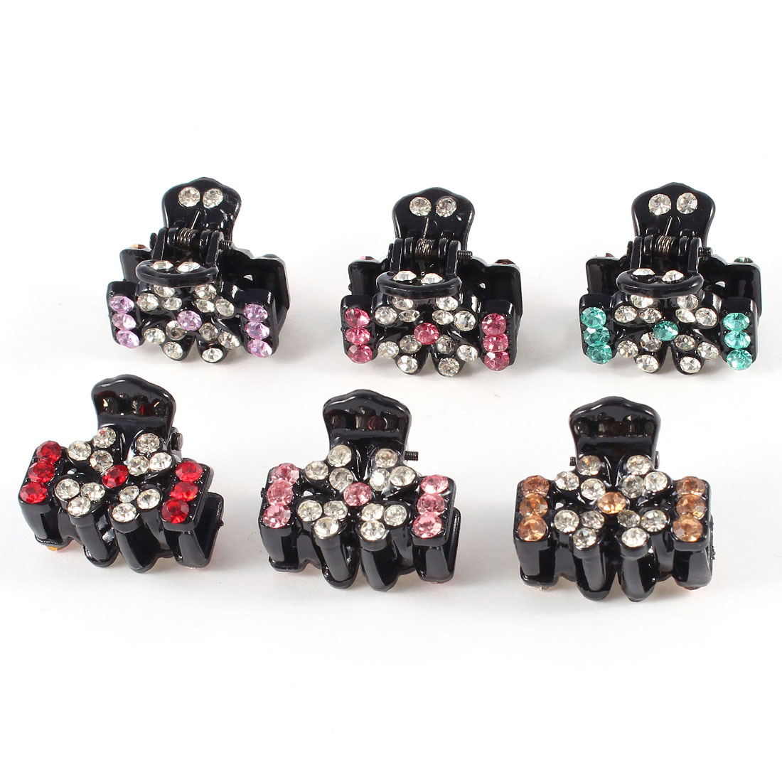 Girl Colorful Rhinestones Design Hair Claw Clamps 6 Pieces