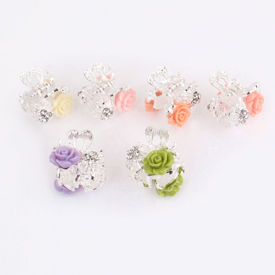 Lady Girls Penoy Flower Decor Assorted Color Metal Hair Claw Clip 6 Pcs