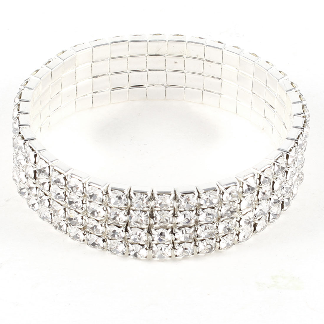Girls Silver Tone Glittery Rhinestone Decor Metallic Strap Bracelet