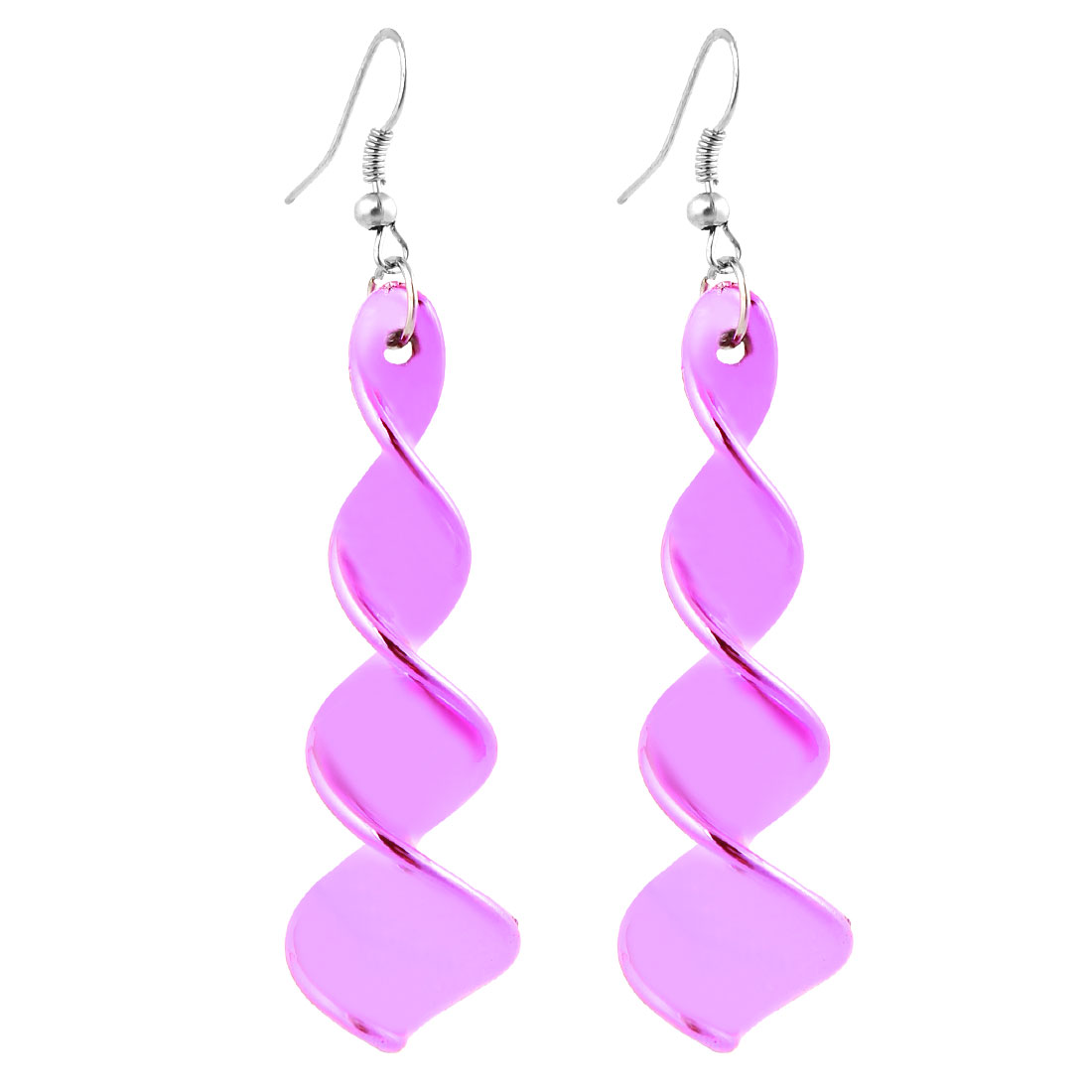Women Ear Decor Pink Plastic Spiral Design Pendant Fish Hook Earrings