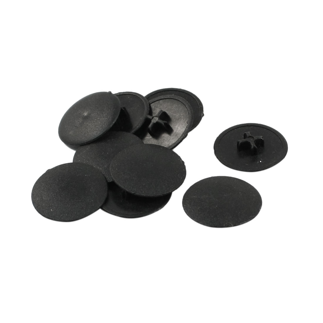 Home Chair Table 17mm Dia Plastic Cap Cover Round Insert Black 10pcs