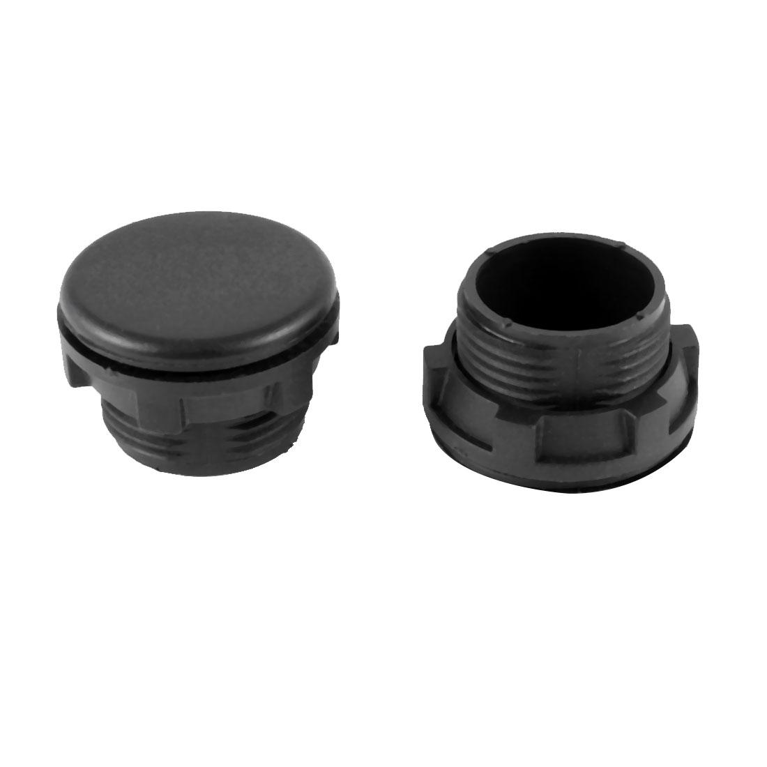 2 Pcs Furniture 22mm Diameter Black Plastic Screw Type Panel Hole Stopper