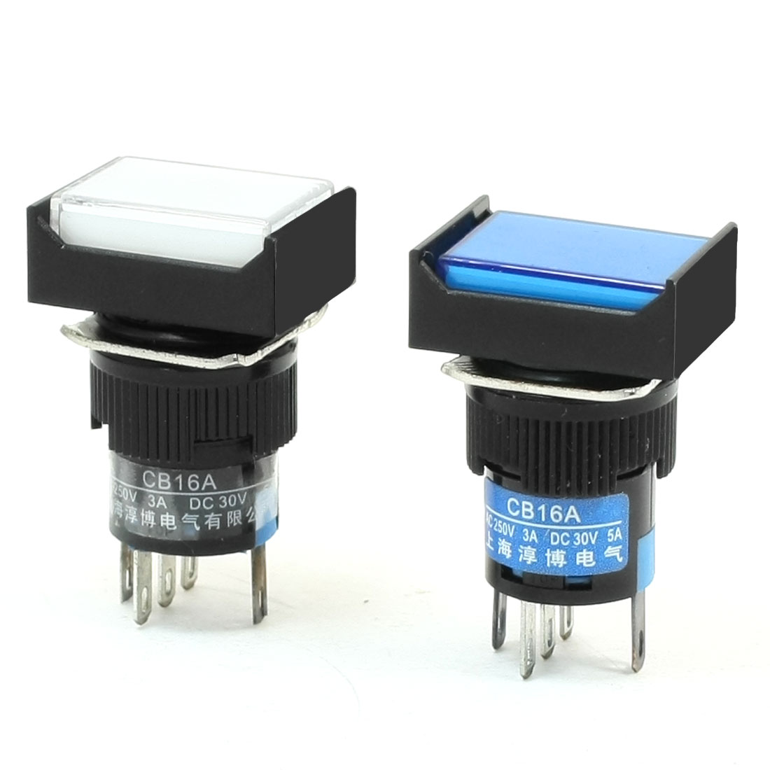 2Pcs NO NC Lamp Indicator Latching Rectangle Push Button Switch 220VAC