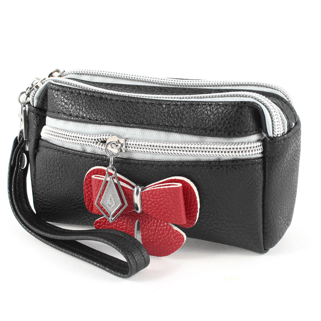 Lady Black Faux Leather Red Bowknot 3 Layers Zip up Wallet