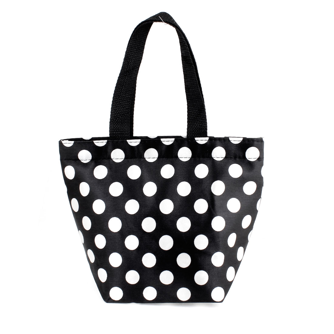 Portable White Dots Pattern Non Woven Shopping Handbag Black