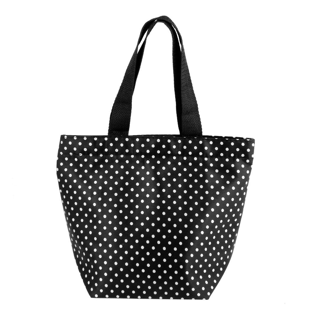 White Dots Pattern Recycle Portable Shopping Handbag Totes Black