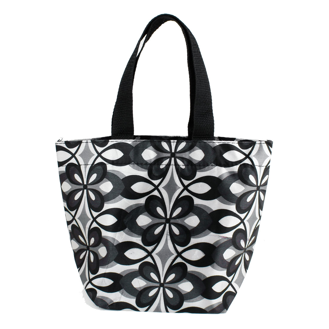 Flower Pattern Recycle Shopping Handbag Totes White Black