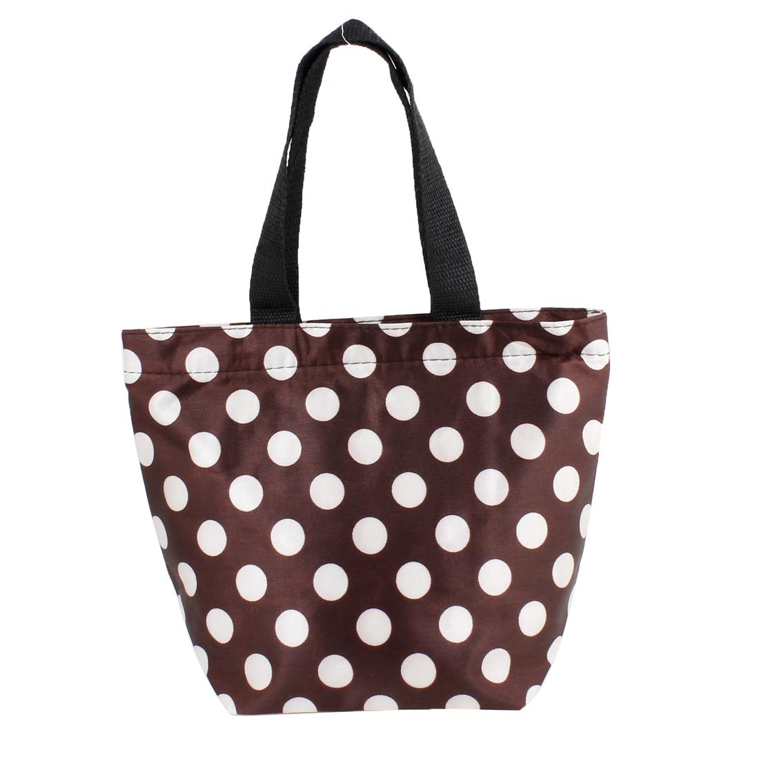 Portable White Dots Pattern Non Woven Shopping Handbag Coffee Color