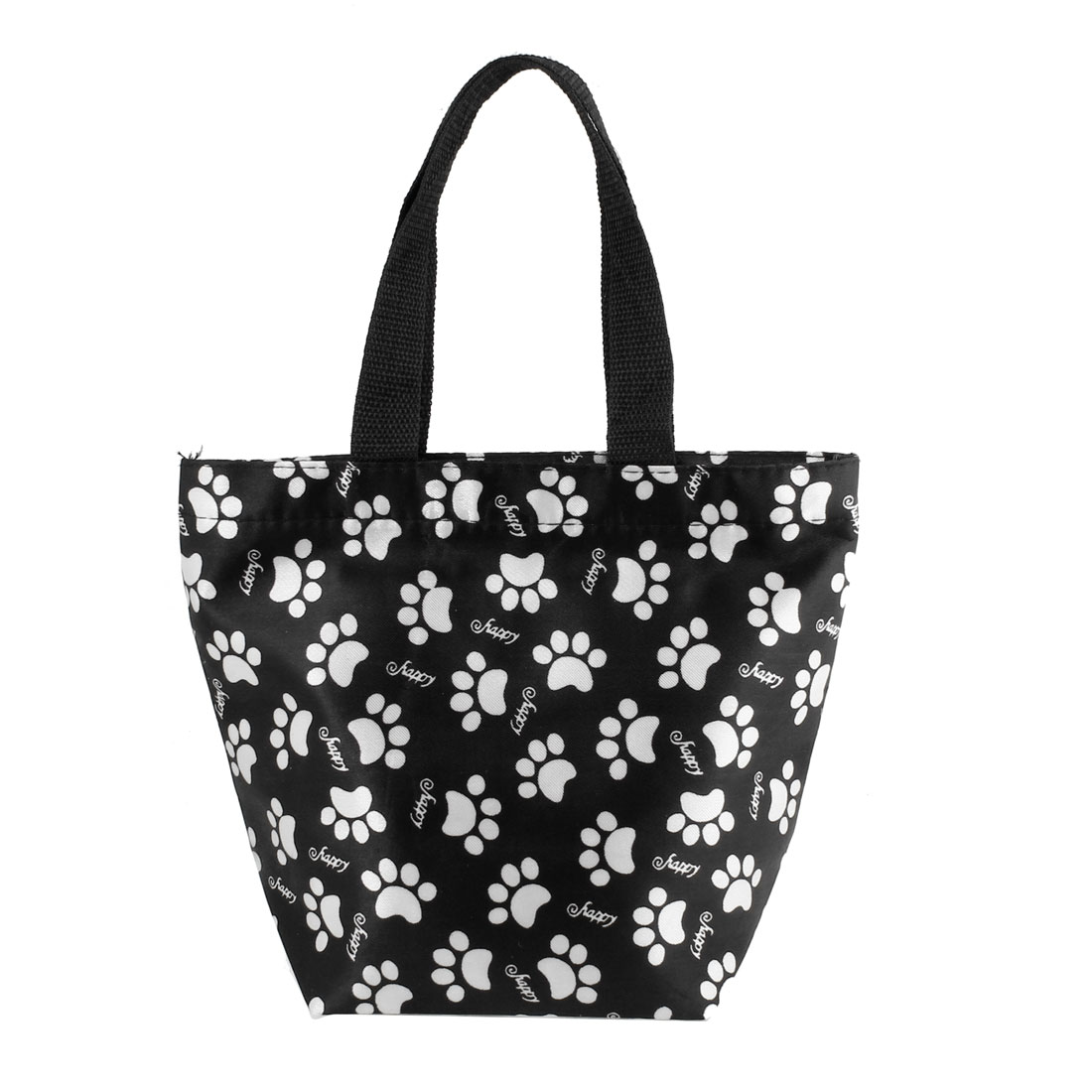 Portable White Paw Pattern Non Woven Shopping Handbag Black