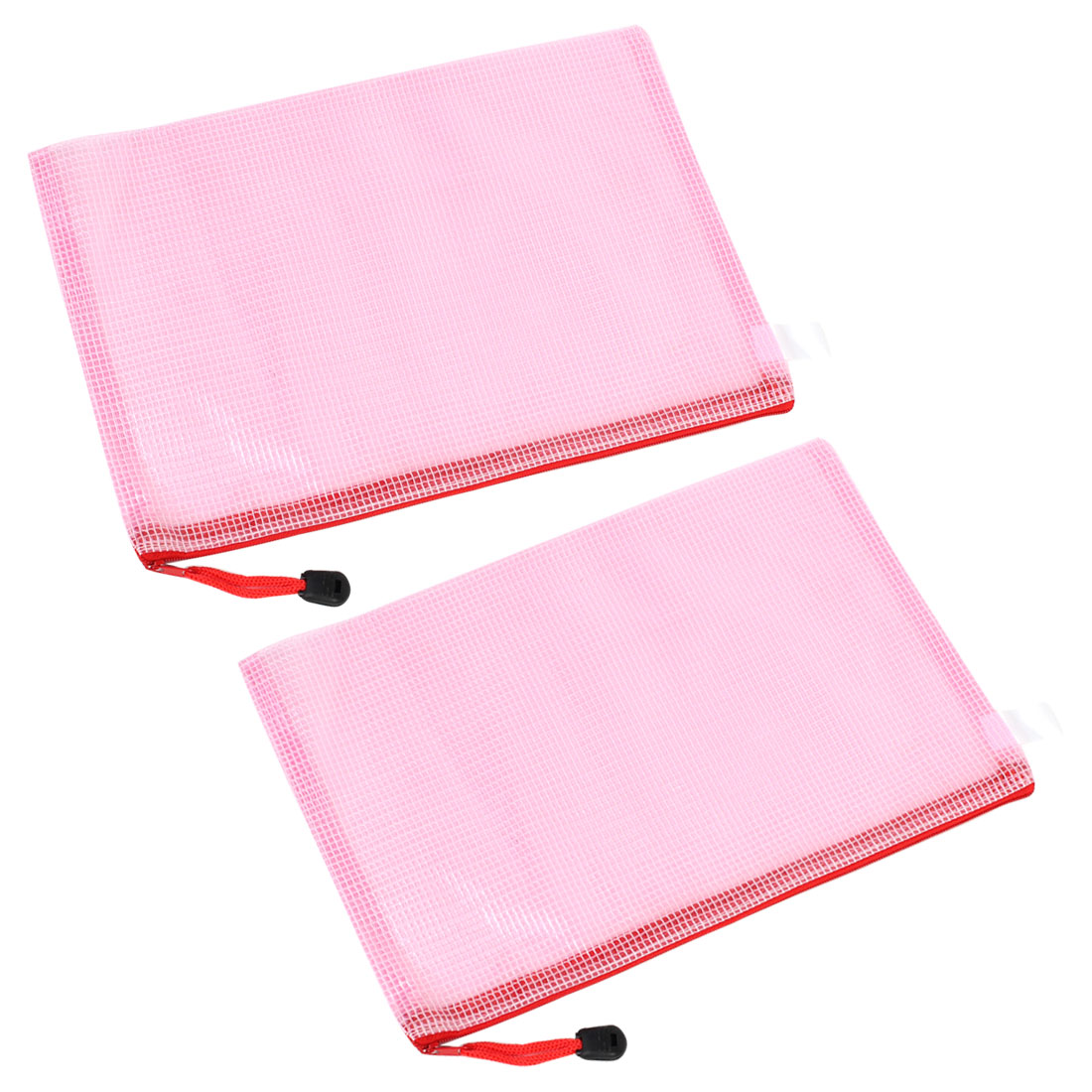 2 Pcs Clear Pink Plastic Zip up B5 Paper File Bag w Nylon Strap