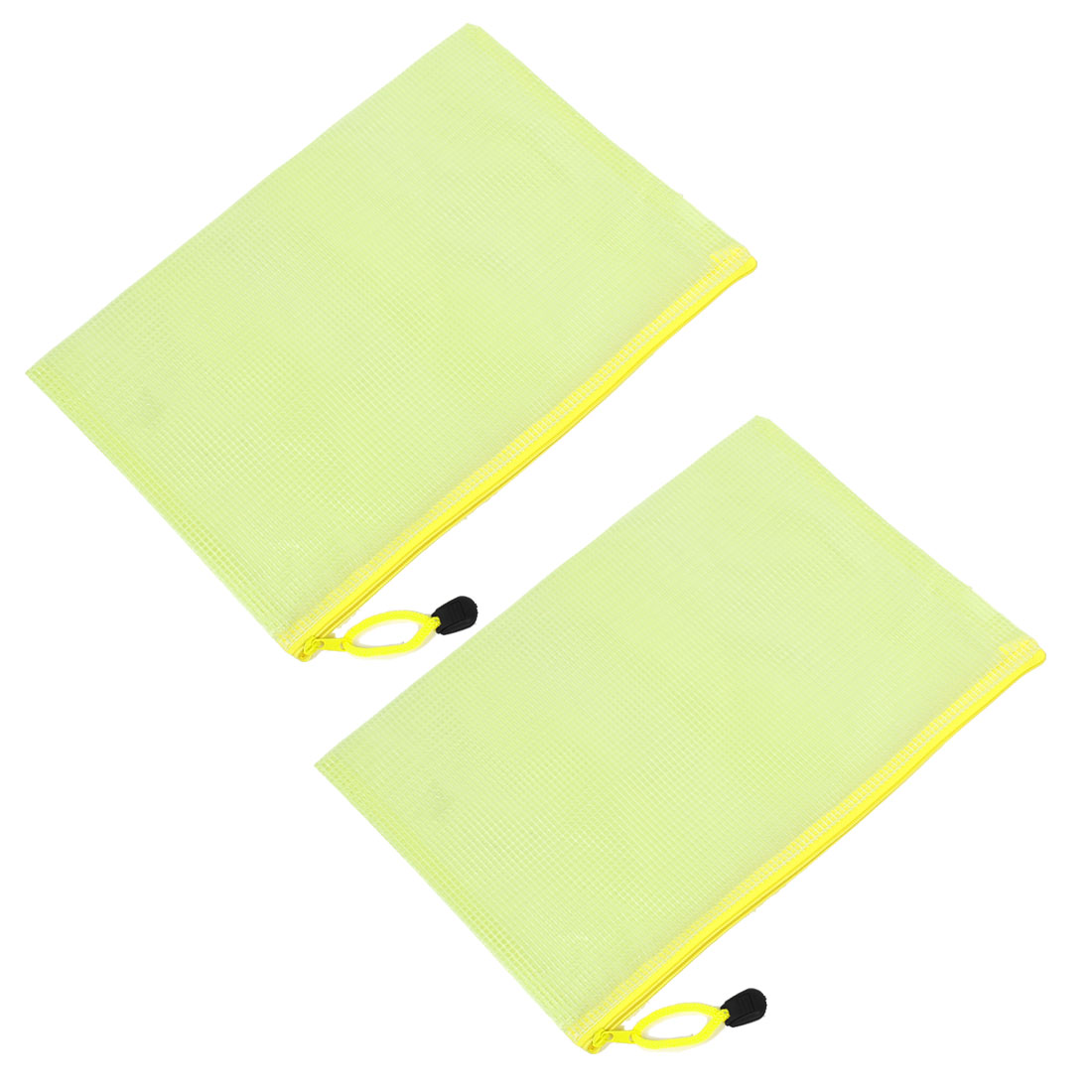 2 Pcs Clear Yellow Plastic Zip up B5 Paper File Bag w Nylon Strap