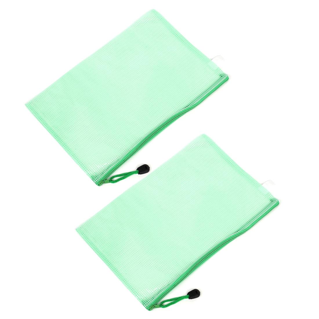 2 Pcs Clear Green Plastic Zip up B5 Paper File Bag w Nylon Strap