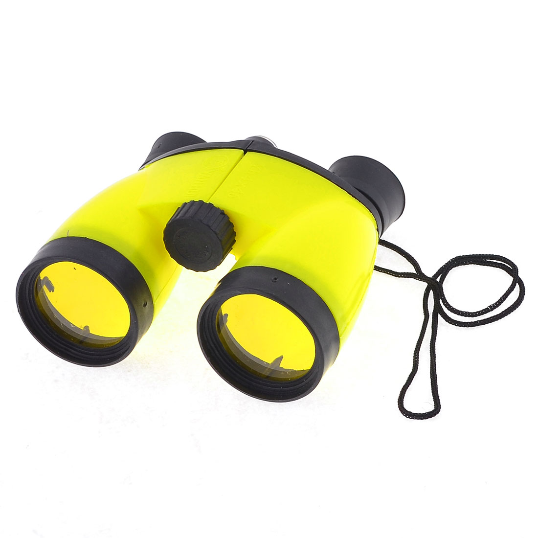 Yellow Plastic Compass 4X46 Binoculars Telescope Toy w Neck Strap