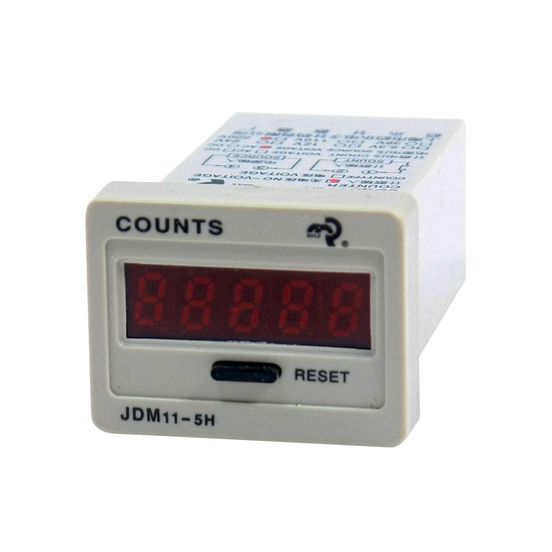 Reset Panel Mount 0-99999 LED Display Digital Counter JDM11-5H AC 220V