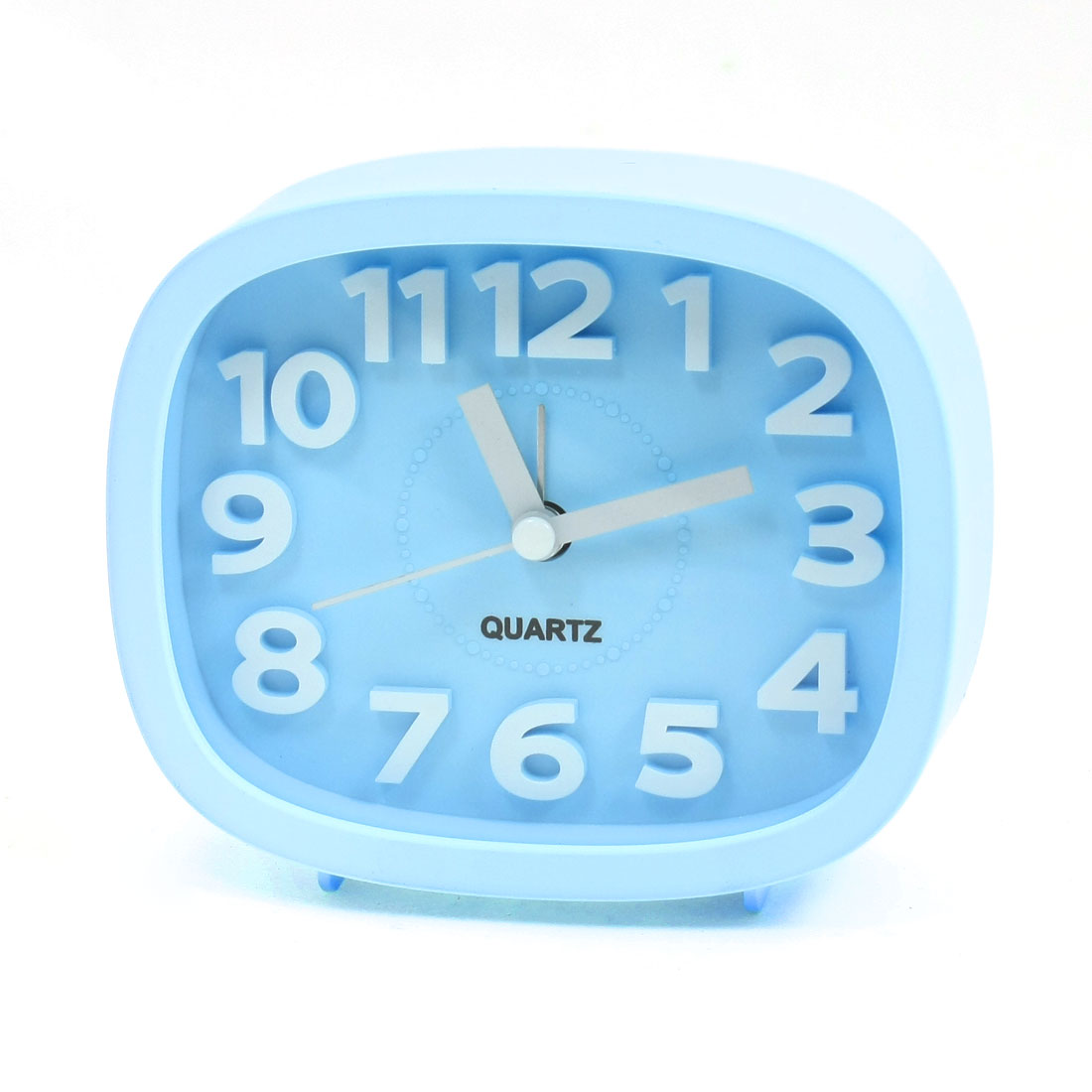 Trapezoid Battery Powered Desk Quartz Alarm Clock Light Blue
