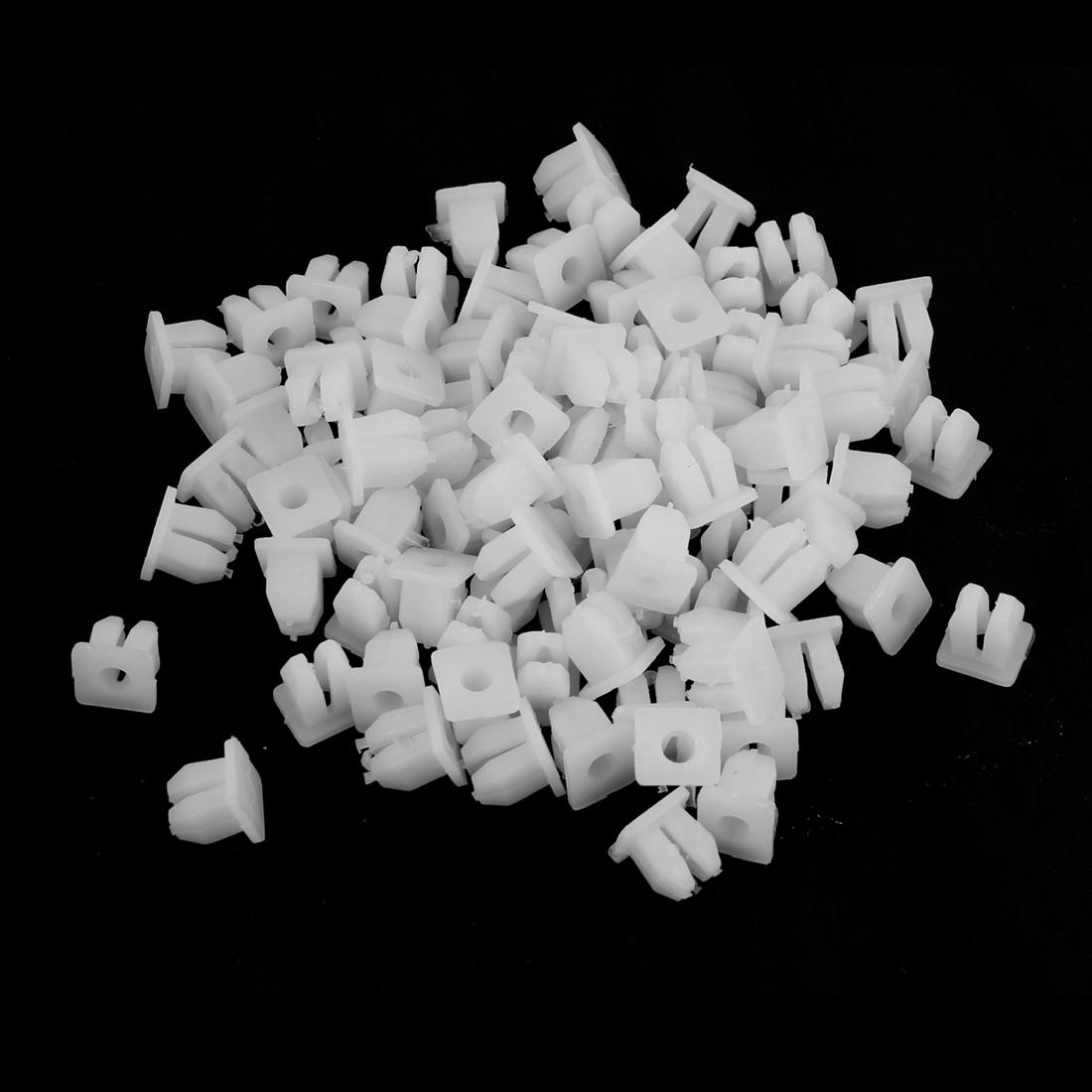 50 Pairs Car White Square Head Plastic Rivets Fastener Fender Bumper Clips White