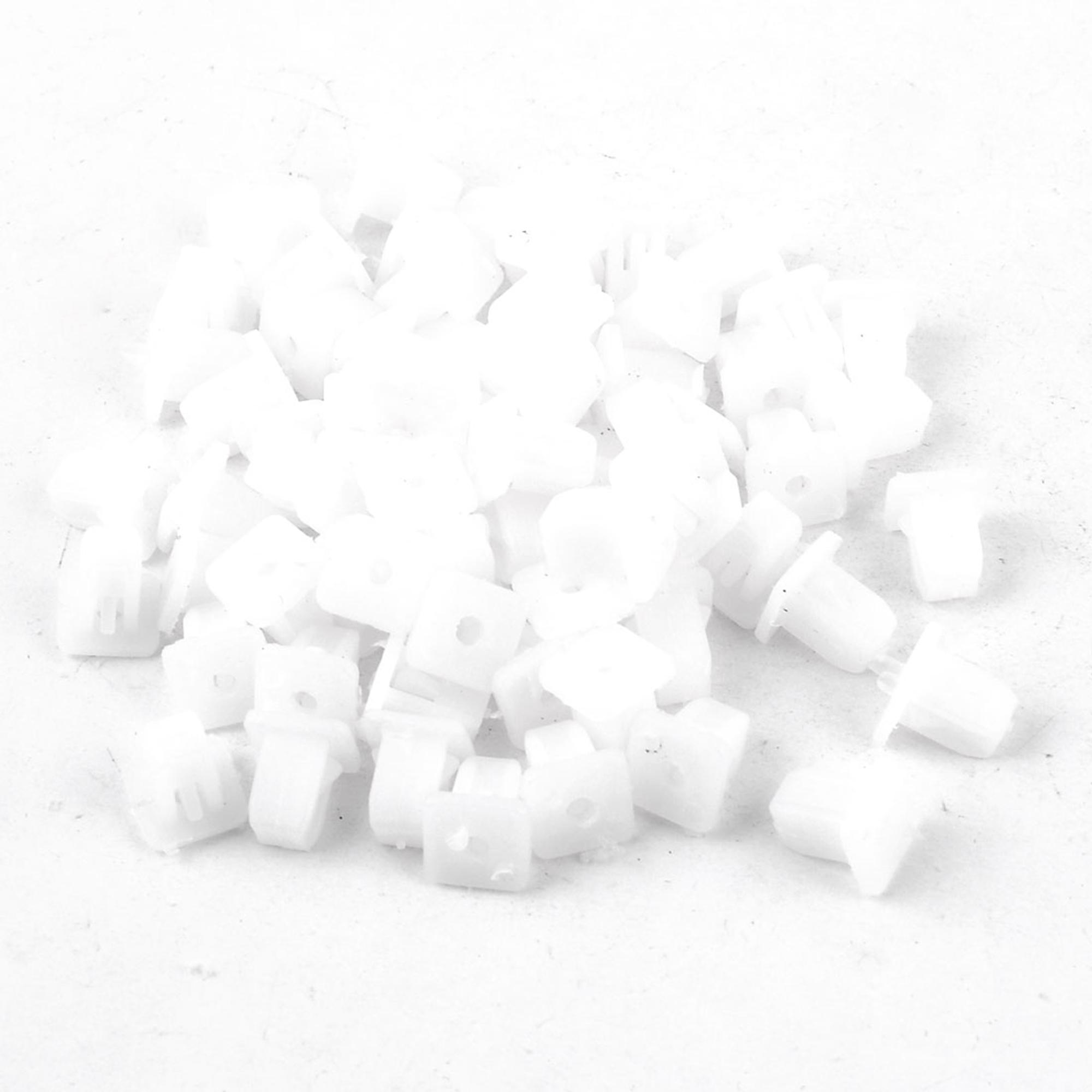 100pcs Car White 9mm Hole Square Plastic Rivets Fastener Fender Bumper Clips