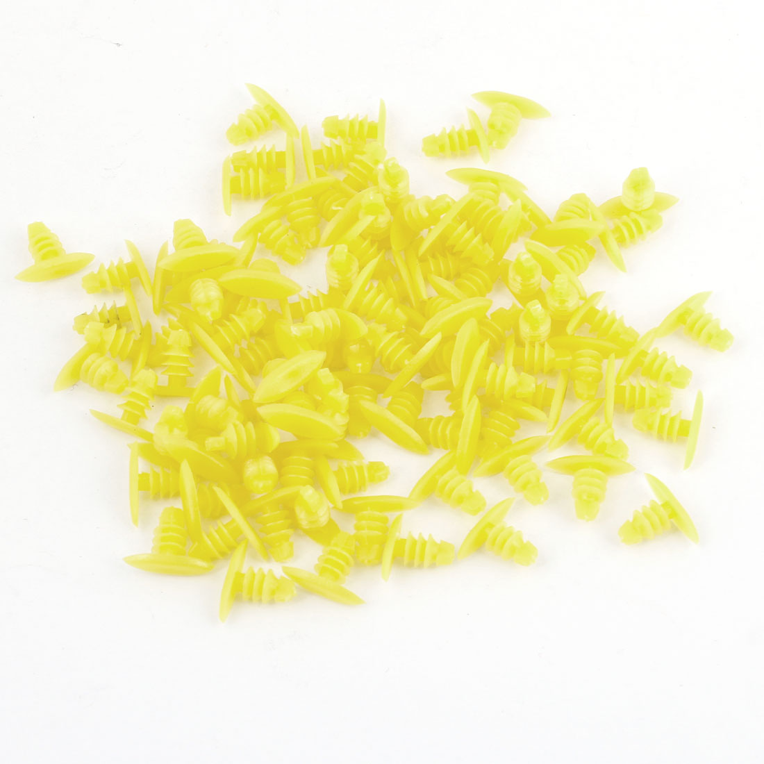 Auto Truck Door Fender 6.5mm Hole Plastic Rivets Fastener Yellow x 100