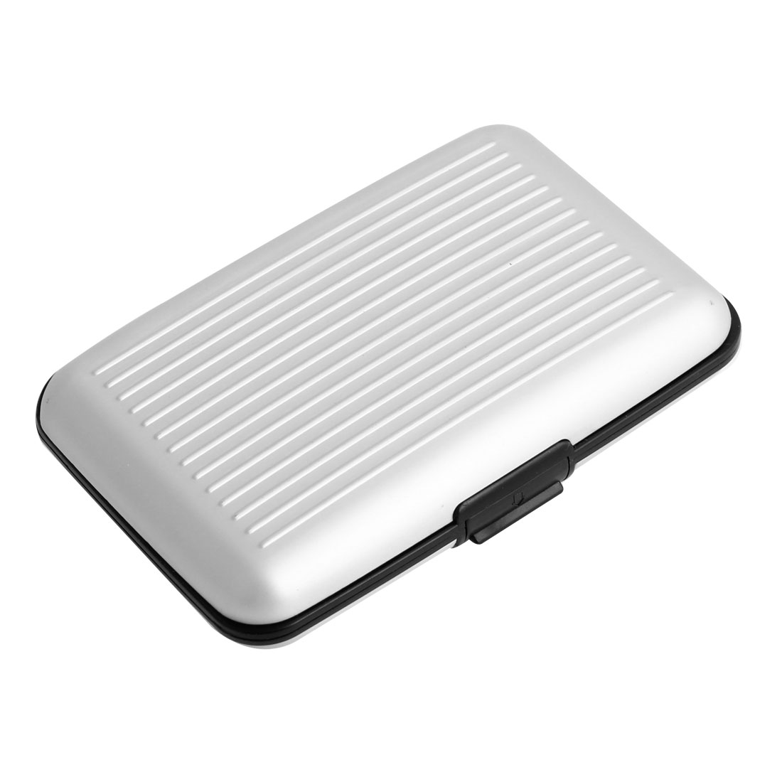 Silver Tone Plastic Striped Surface 7 Pockets ID Business Card Holder Case