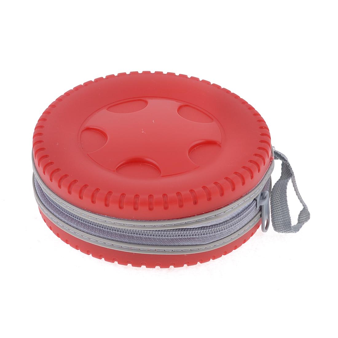 Household Tire Design Zippered 20 DVD CD Discs Holder Pocket Storage Bag Red