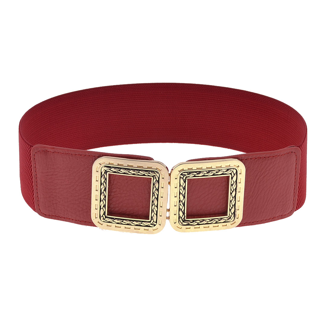 Lady Square Shaped Hollow Interlocking Buckle Stretch Wasitbelt Cinch Band Red