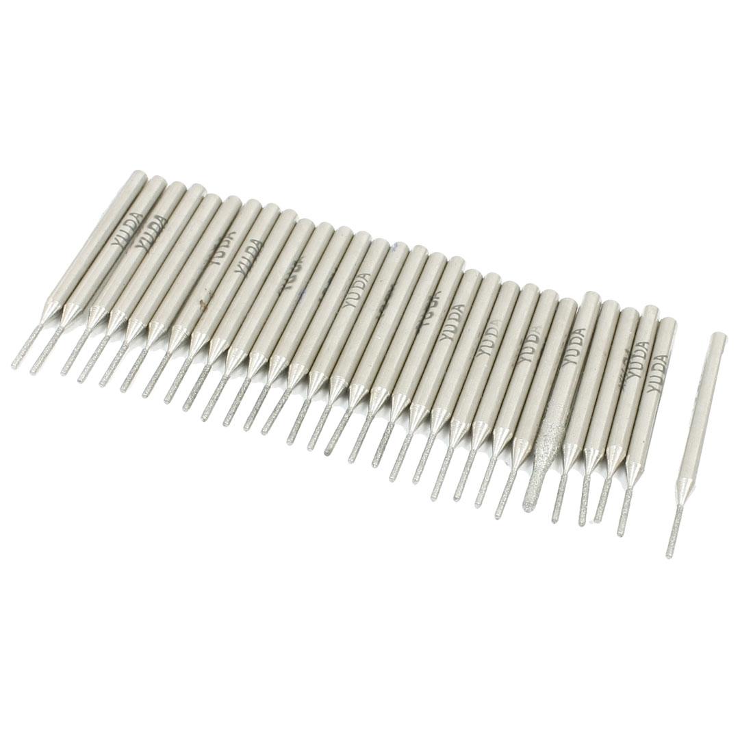 30Pcs 1mm Cylinder Tip 3mm Shank Diamond Point Grinding Bits
