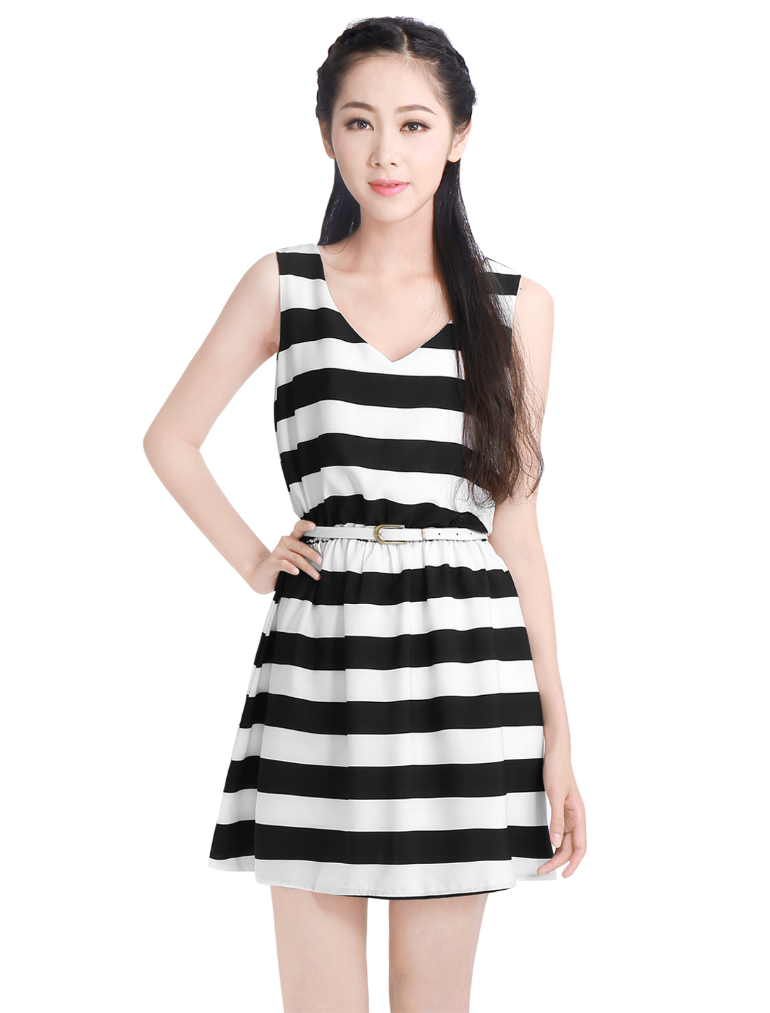 Women Black White Stripes Pattern A-Line Mini Dress w Belt L