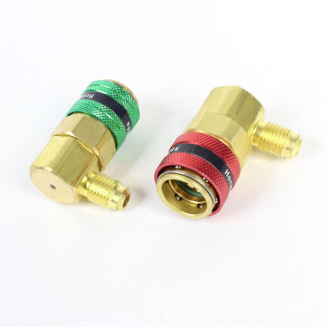 Car Auto A/C R134a QC-12A Quick Connector Adapter Coupler Green Red x 2