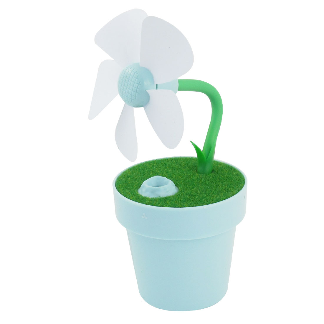 Office Desktop Adjustable Range USB Mini Flower Pot Humidifier Fan Pale Blue