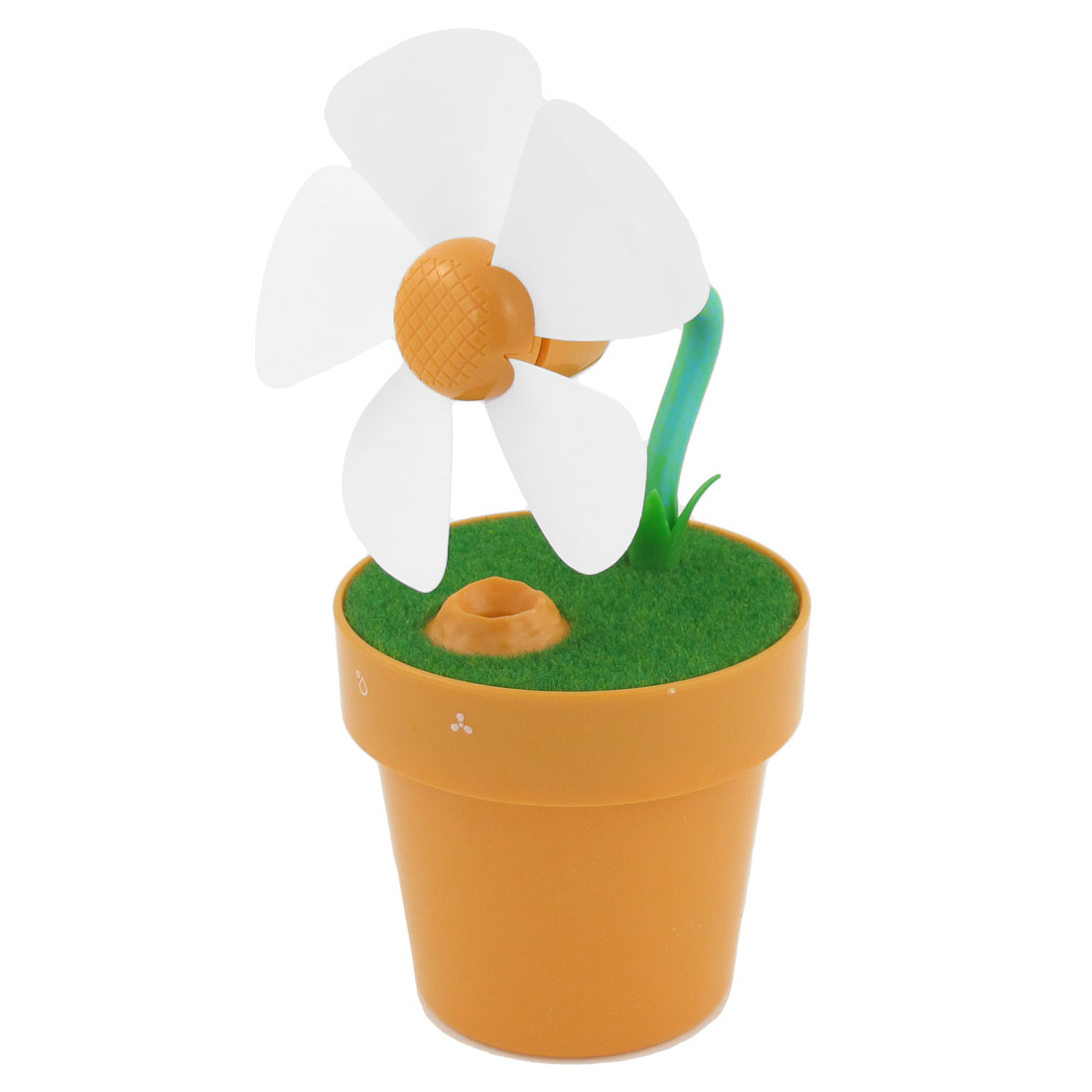 Office Desktop Adjustable Range USB Mini Flower Pot Humidifier Fan Orange