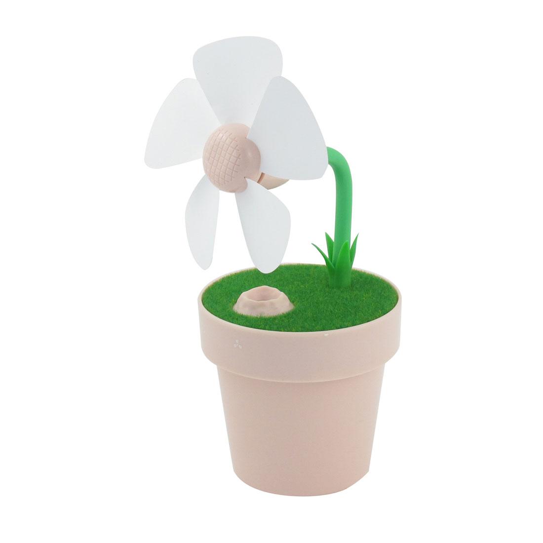 Summer Household Mini Flower Pot Air Purification USB Humidifier Fan Pink