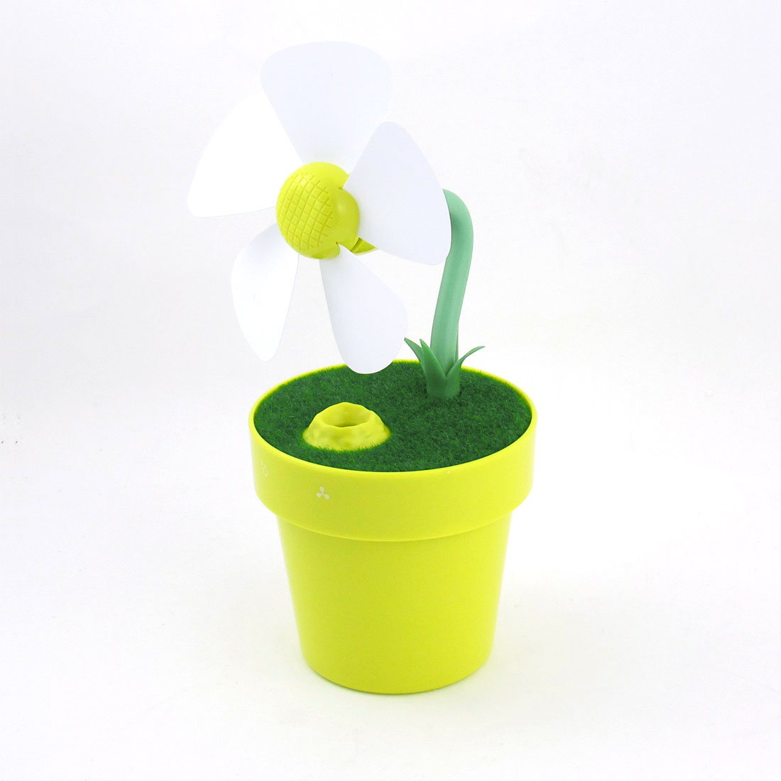 "Home Mini Flowerpot Shape Humidifier Water Mist Fan w 48"" USB Cable Yellowgreen"