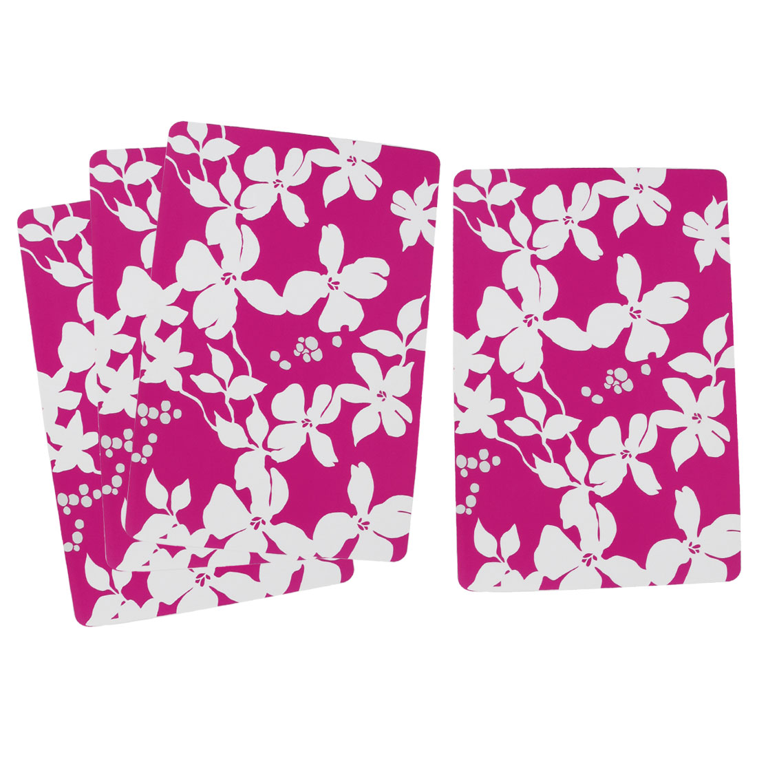4 Pcs White Flowers Print Plastic Rectangle Table Pot Mug Holder Mat Fuchsia