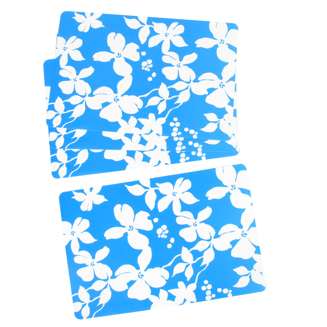 "4 Pcs 16.5"" x 11"" Picnic White Flowers Pattern Oil Resistance Pad Mat Blue"