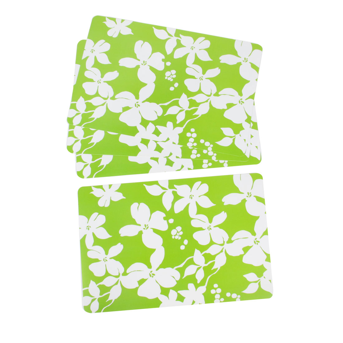 4 Pcs White Flowers Print Plastic Rectangle Table Pot Mug Holder Mat Green