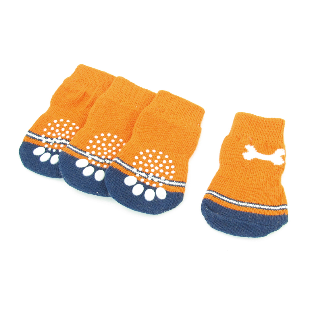 2 Pairs Bone Print Elastic Knitted Pet Dog Doggie Socks Navy Blue Orange Size L