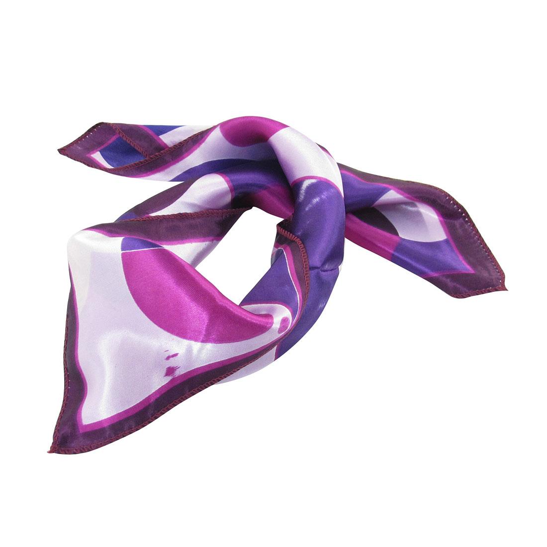 Purple Fuchsia Round Dots Print Square Kerchief Neck Scarf Wrap for Women