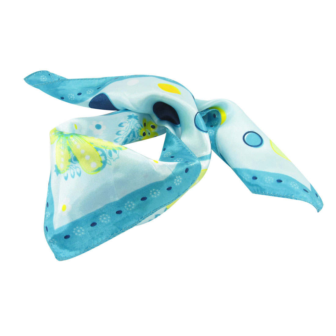 Cyan Yellow Flowers Print Square Kerchief Neck Scarf for Women