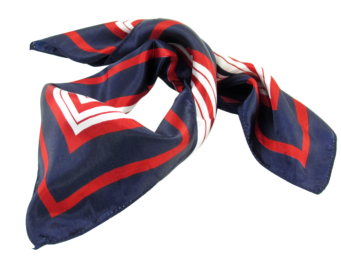 Dark Blue Red White Stripes Print Square Kerchief Neck Scarf Wrap for Lady