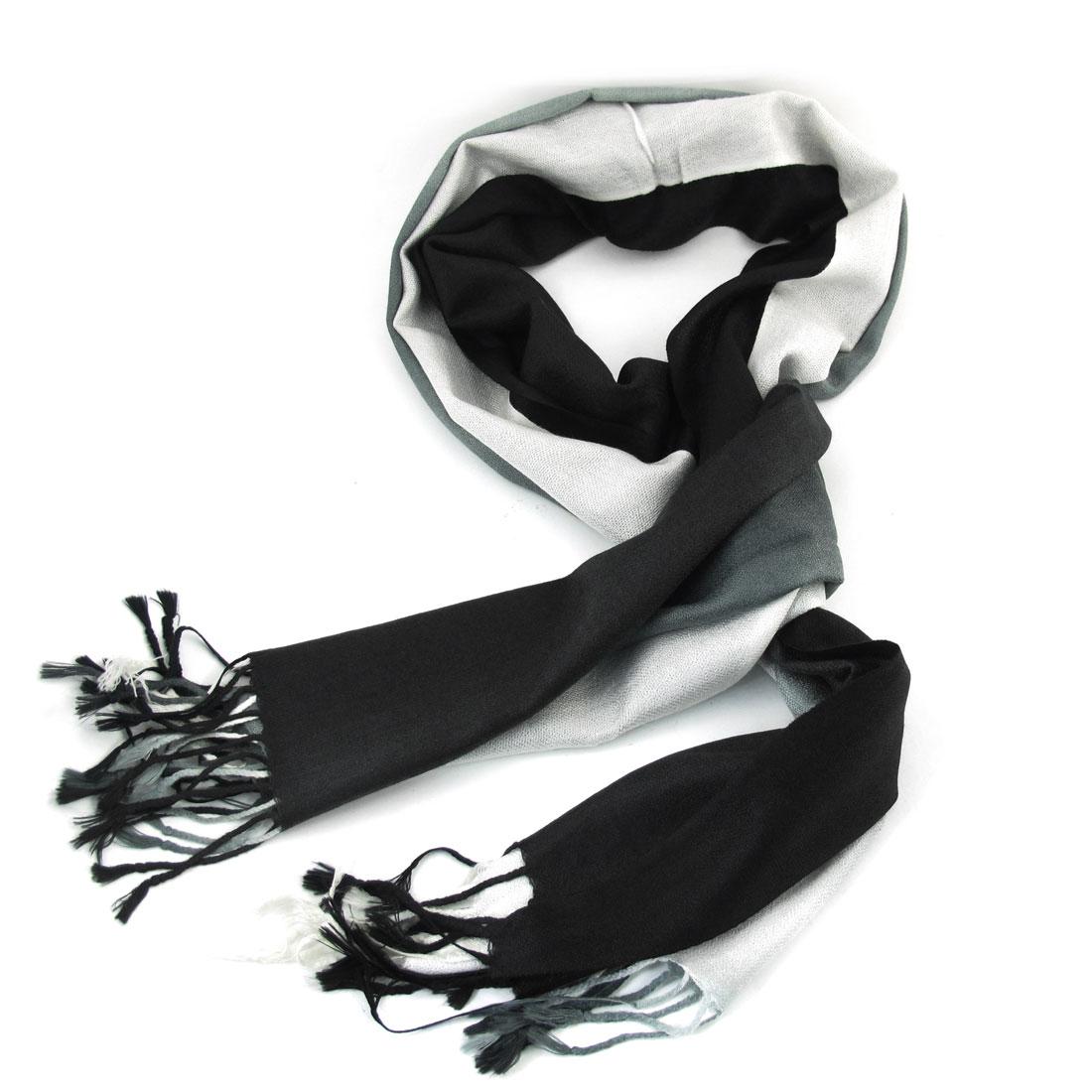 Long Tassel Rim Decorated Black White Shawl Scarf for Ladies