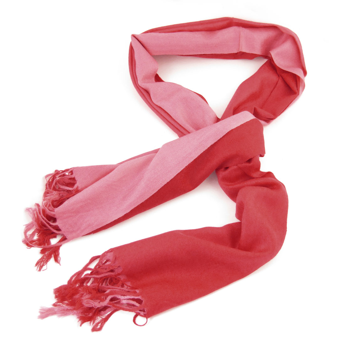 Ladies Pink Red Tassel Decor Spring Long Shawl Scarf
