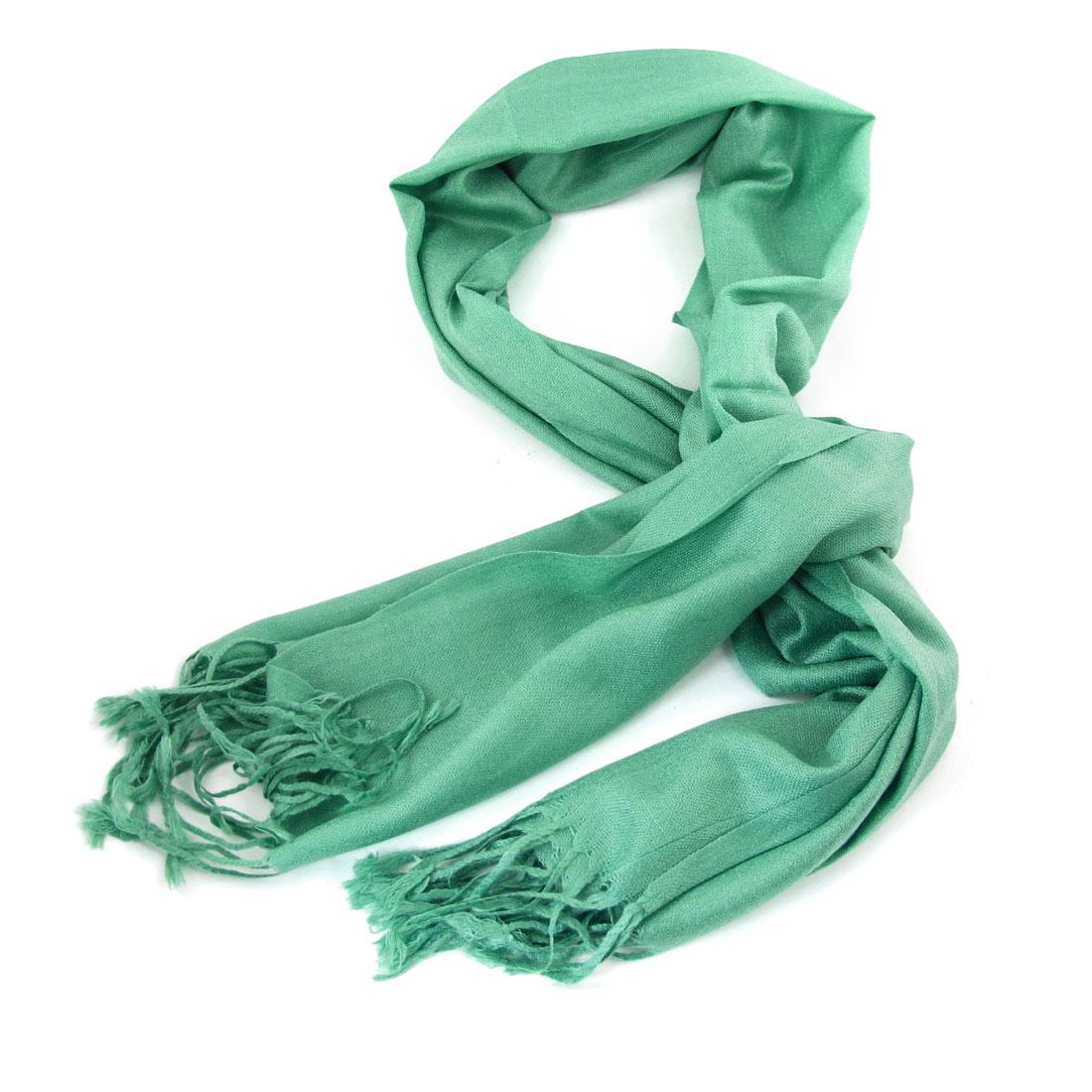 Women Green Tassel Dangle Decor Rectangle Scarves Scarf