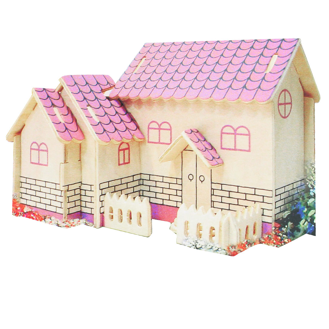 Kids Children Assembly Mini Purple House Model Wooden Puzzle Toy