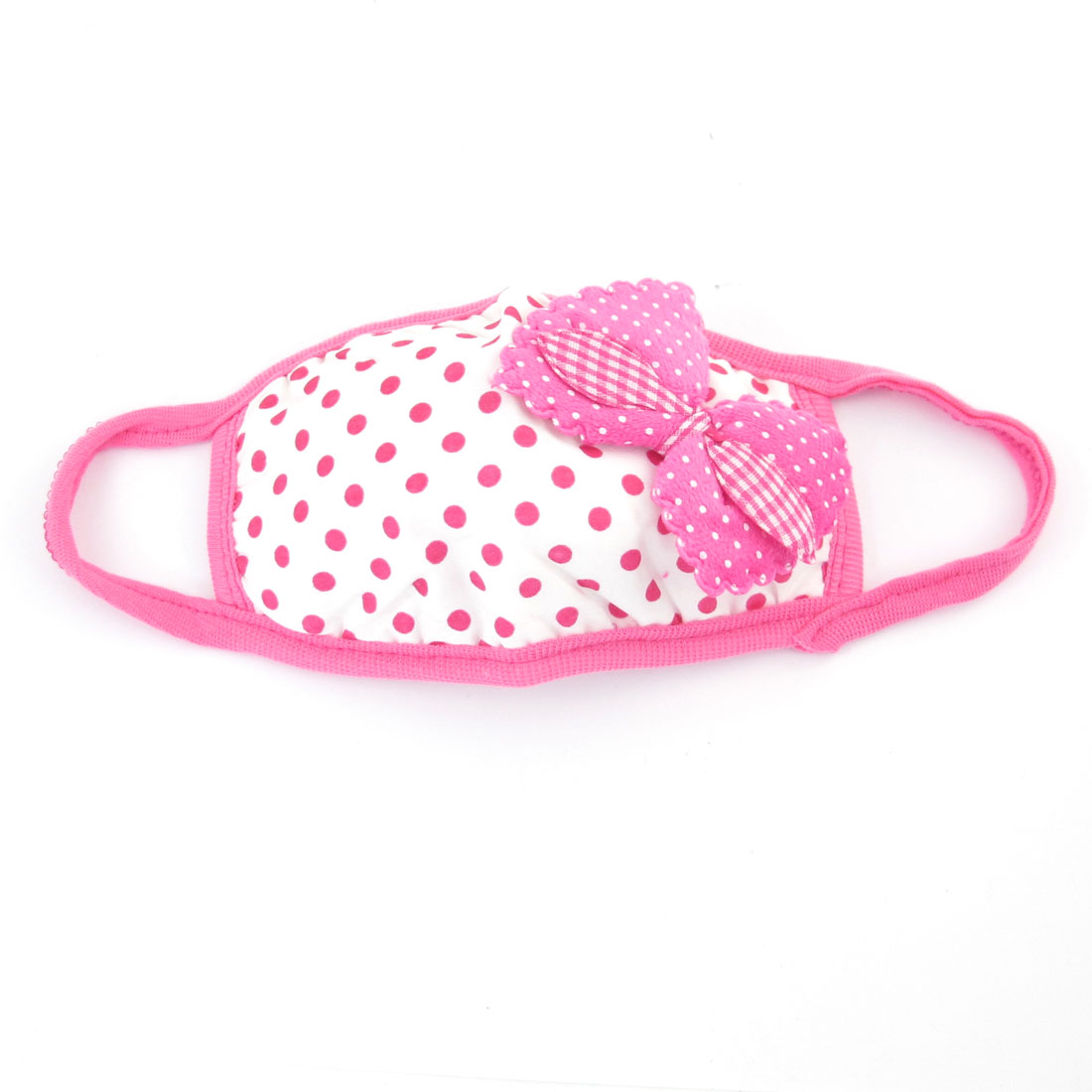 Pink Dot Prints Bowknot Ornament Dust Proof Earloop Face Mask for Lady