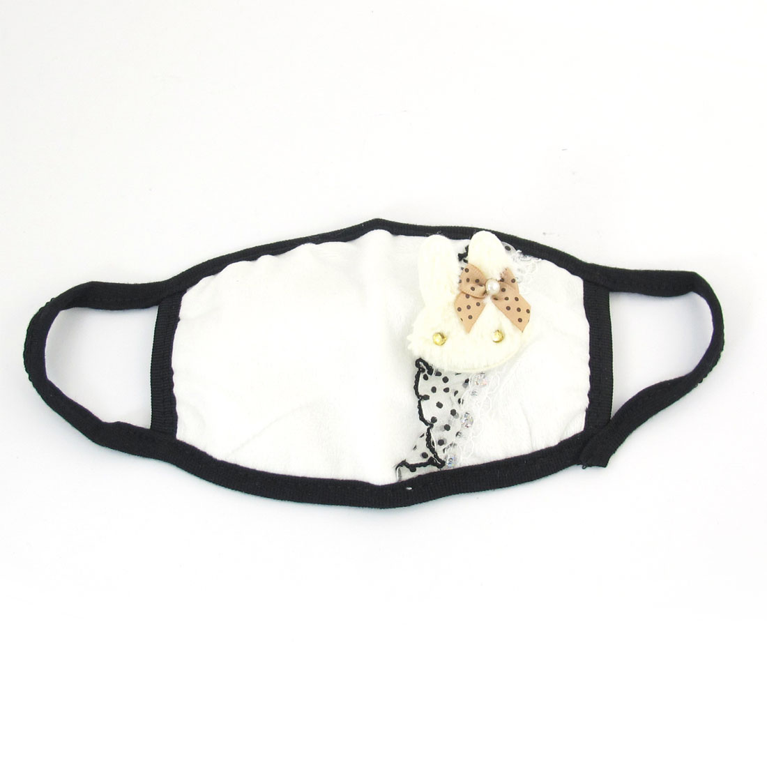 White Black Rabbit Head Decor Dust Proof Earloop Face Mask for Lady