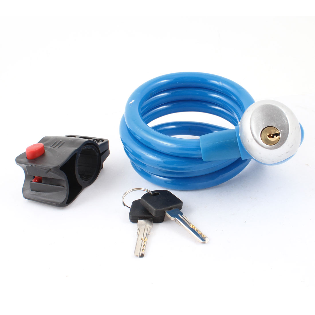 1.2m Long Key Locking Blue Plastic Shielded Steel Cable Lock for Bike Bicycle