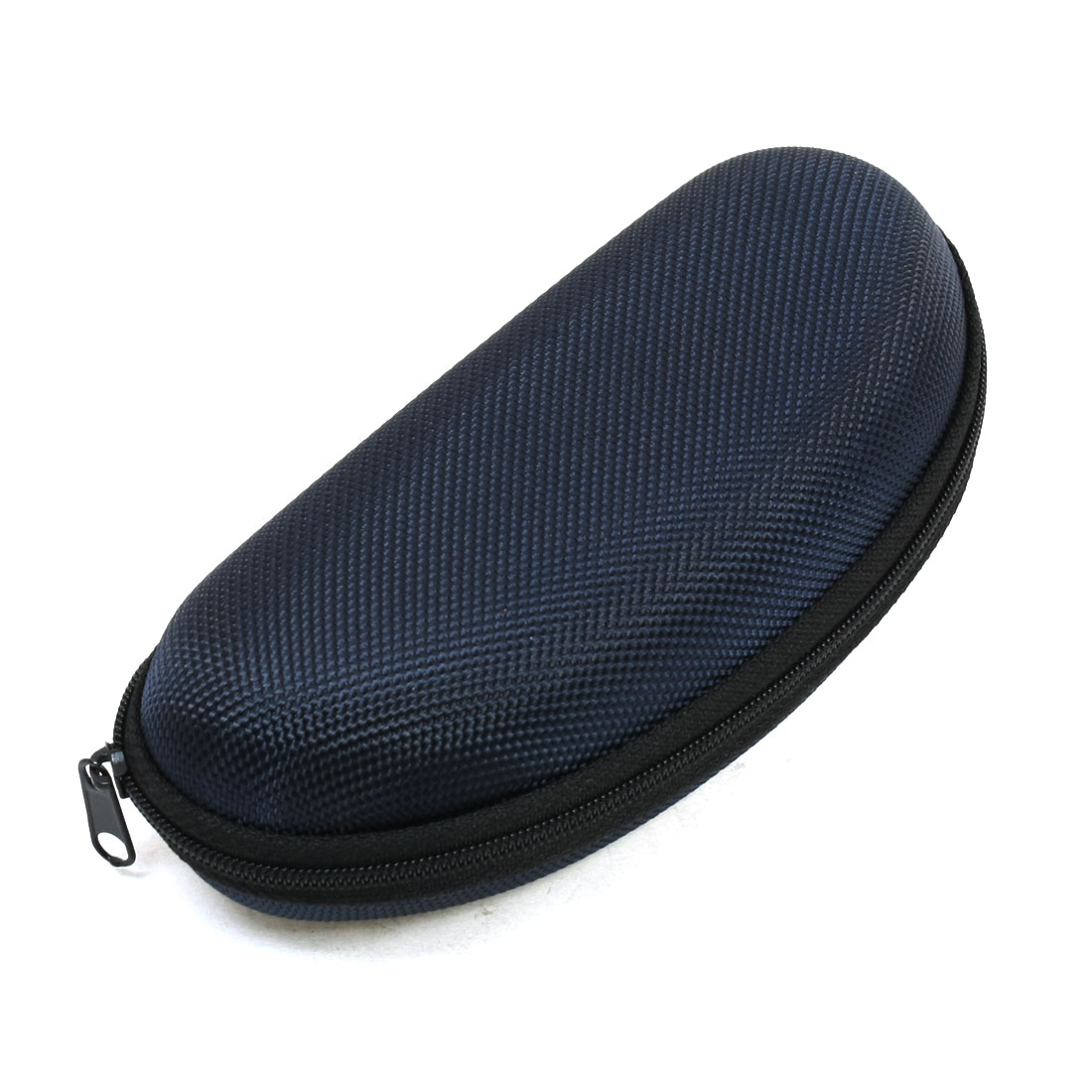 Zipper Up Carbon Fiber Print Fleece Lining Sunglasses Case Dark Blue